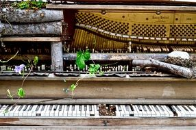 ruined abandoned piano close-up