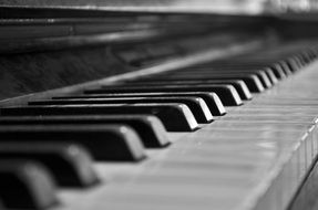black and white photo of the keys of an old piano