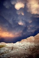 Storm Clouds over the hills in badlands national park