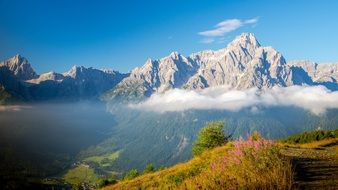gorgeous view of Sexten Dolomites mountain range, italy, south tyrol