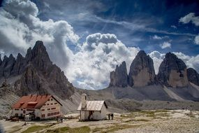 Huts in gorgeous landscape at Three Peaks Of Lavaredo, italy