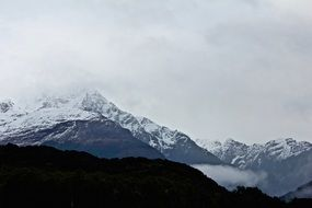 panorama of picturesque snow peaks
