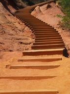 orange staircase in the natural park in the province of Roussillon