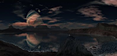 dark fantasy Landscape with Planet mirroring on Lake
