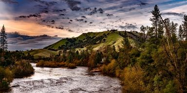 idyllic river landscape in California, United States