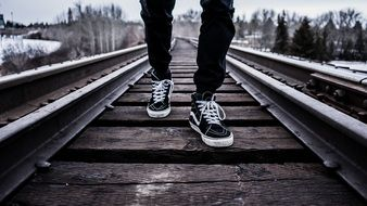 Picture of man in Shoes Walking on a railway