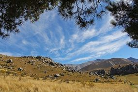 blue sky over the mountains in Castle Hill, New Zealand