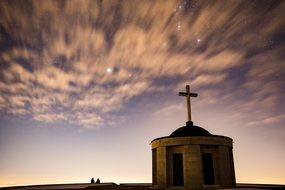 Starry sky and church