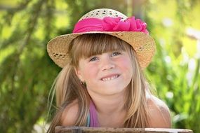 cute little girl in the summer hat