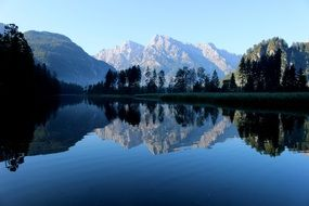 reflection of white mountains in a lake in Austria