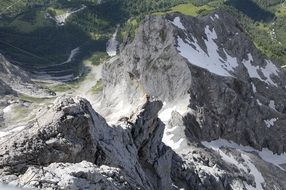 Dachstein, alpine Mountains, view from Cable Car, austria