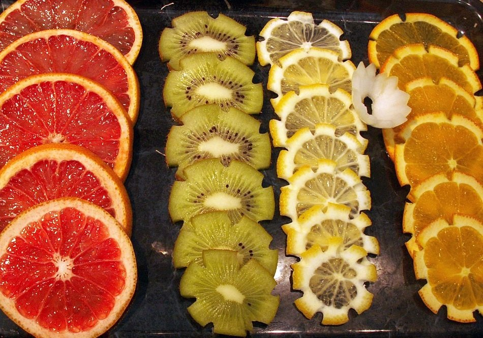 Different sliced fruits