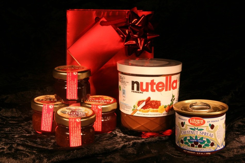 nutella and jam jars in gift wrapping