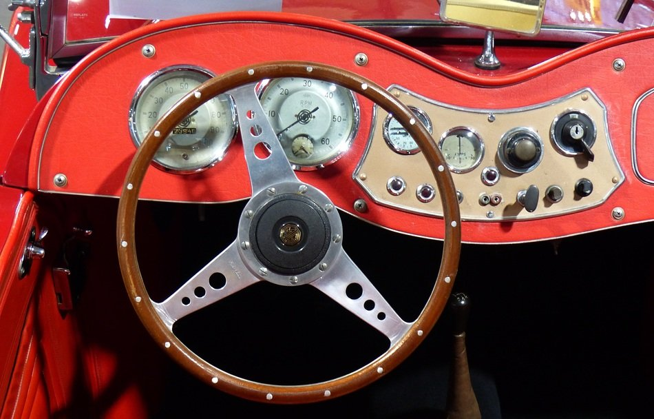 red retro car interior
