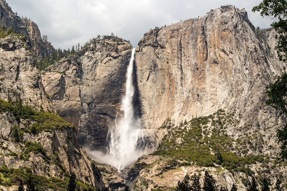 scenic waterfall in the yosemite national park
