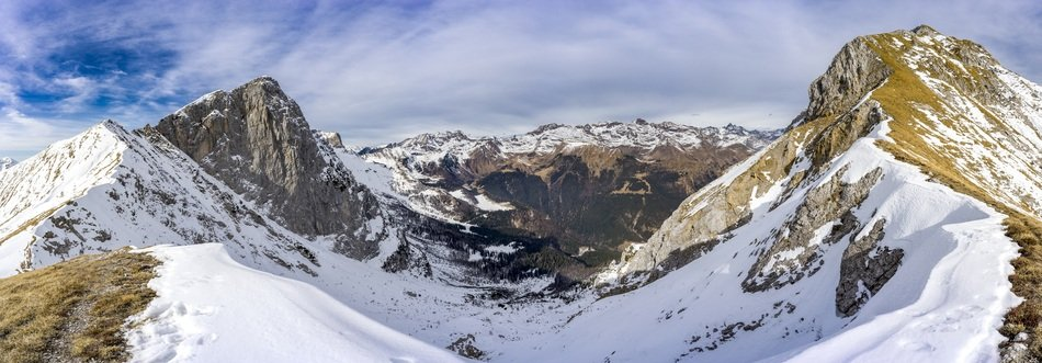 snow covered mountains panorama