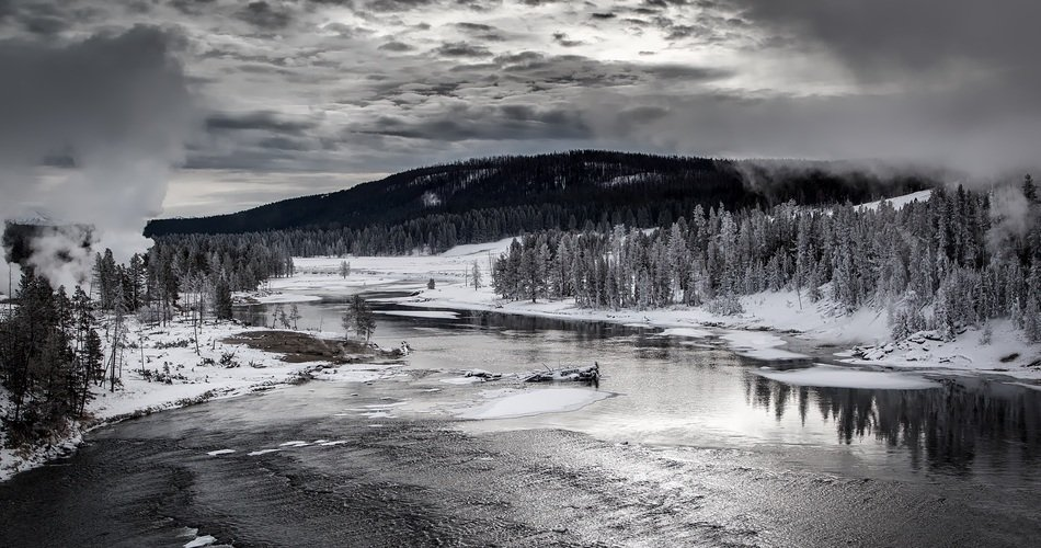 panoramic view of the Yellowstone River, black and white