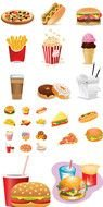 Different colorful types of fast-food
