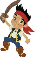 Jake And Neverland Pirates, cartoon Character with sword