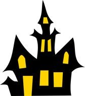 black Haunted House with yellow windows, Clip Art