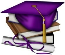 Purple Graduation Cap on books and diploma, Clip Art