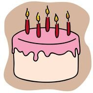 pink Birthday Cake Clip Art drawing