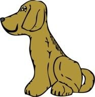 Brown sitting dog clipart