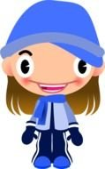 funny girl in a blue hat as a graphic image