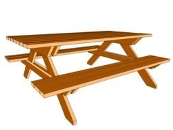 wooden table and benches for a picnic as a picture for clipart