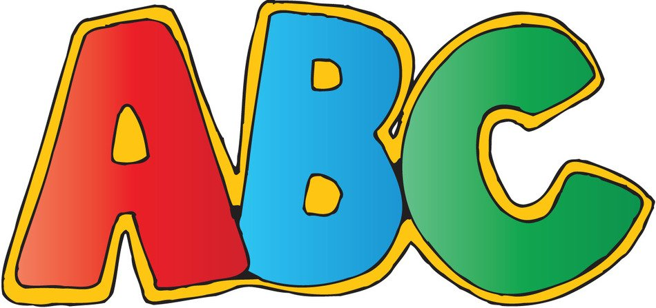 Colorful 'A B C' letters clipart
