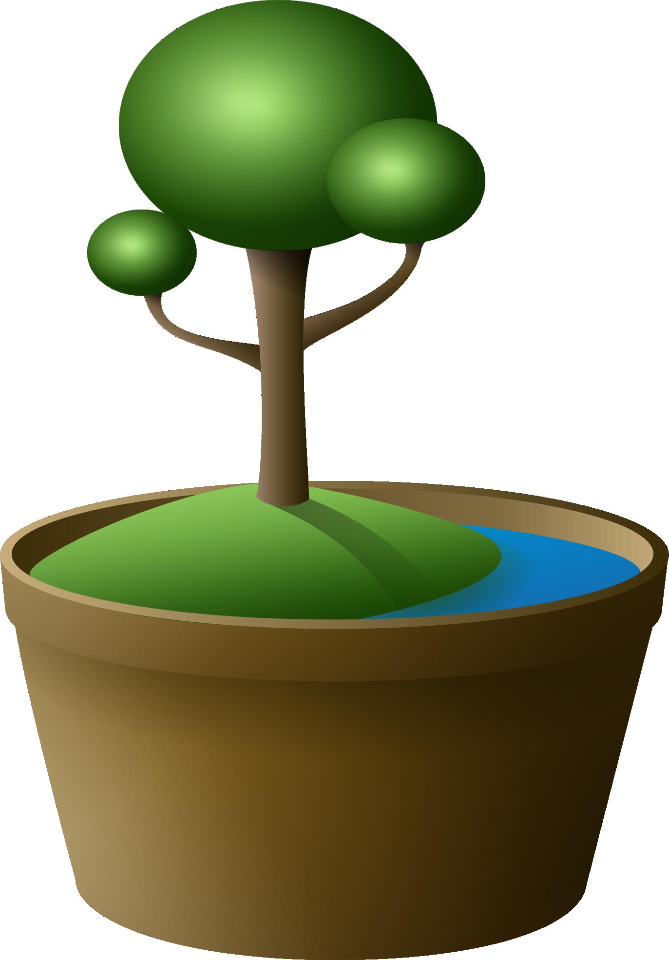 Cartoon Bonsai Tree Clipart Free Image