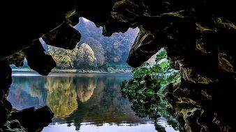 Cave on a lake