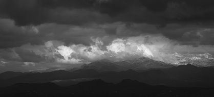 dark clouds during a storm over the mountains