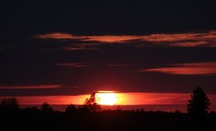 distant view of red sunset