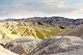 Zabriskie Point is part of the Amargosa Range, located east of the Death Valley in California's Death Valley National Park.