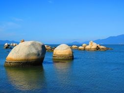 large stones in the water