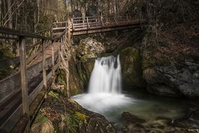 Water Bach River Waterfall wooden bridge view