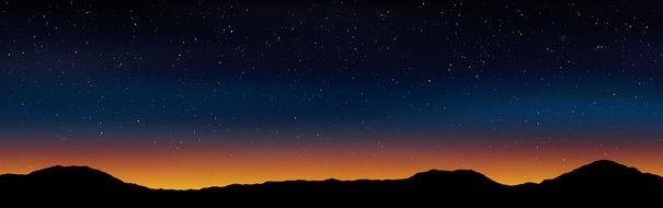 Night Sky with Stars above mountains, Banner