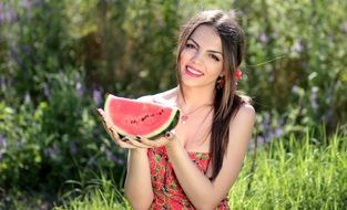 smiling beautiful Girl Melon Red Summer Beauty