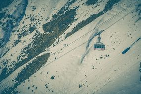 panorama of a cable car above the snowy alps