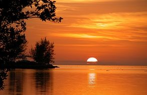 orange sunset over the ocean in Key West, Florida