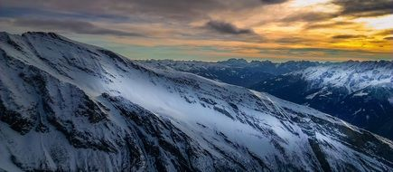 snow mountain in Alps sunset landscape