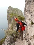 climbing route in Cima Capi on the shores of Lake Garda