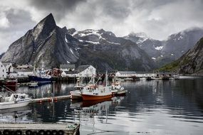 panoramic view of the marina on the Lofoten islands