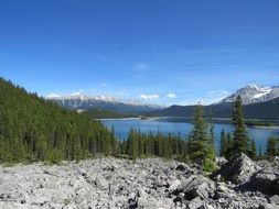upper kananaskis lake and rocky mountains