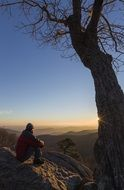 person sits on mountain summit loking at scenic landscape, usa, virginia, shenandoah national park