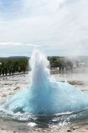 geyser with water fountains in iceland