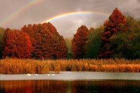 double Rainbow above colorful autumn Trees at lake