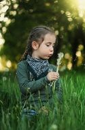 girl is blowing on a fluffy dandelion