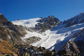 panoramic view of a glacier on a sunny day